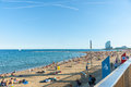 Barcelonetta Beach with architecturally modern W Hotel in distan Royalty Free Stock Photo