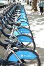 Barclays bicycles london for rent on a street Stock Images