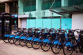 Barclays cycle hire bch is a public bicycle sharing scheme that was launched on july in london england the s bicycles are Royalty Free Stock Images