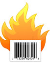 Barcode on fire illustration design Royalty Free Stock Photography