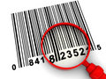 Barcode and magnify glass Royalty Free Stock Image