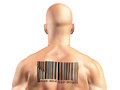 Barcode man bar code on muscular mans back Royalty Free Stock Images