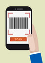 Barcode scan minimalistic illustration of hand holding a smartphone with a running application Stock Photos