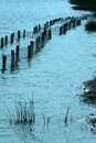 Barden lake flooding the fence at tonbridge over run by flood water Royalty Free Stock Images