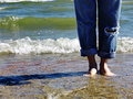 Bare feet on beach Royalty Free Stock Photo