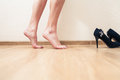 Bare feet female low section view inrofile Royalty Free Stock Photo