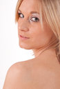 Bare shoulder portrait of a beautiful blond woman with shoulders Stock Photo