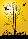 Bare tree and bird illustration of silhouetted branches of a with a flying Royalty Free Stock Photo