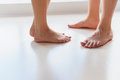 Barefoot guy and girl Royalty Free Stock Photo