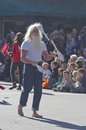 Barefoot juggler in the christmas parade asheville north carolina usa november a entertains kids and adults annual on november Royalty Free Stock Images