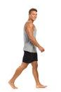 Barefoot Man Walking Royalty Free Stock Photo