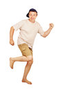Barefoot running man on vacation Royalty Free Stock Photo