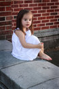 1aff635303b Barefooted Little Girl in White Royalty Free Stock Photo