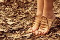 Barefooted tender woman's feet. Footwear concept Stock Photography