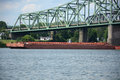 Barge a carries cargo down the ohio river Royalty Free Stock Photo