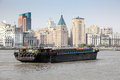 Barge on the huangpu river in shanghai china Stock Images