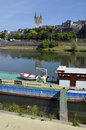 Barge on river at Angers in France Royalty Free Stock Image