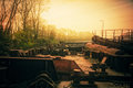 Barges. Sunset Royalty Free Stock Photo