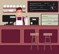 Barista behind the counter bar. Vector. Flat style illustration.