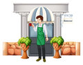 A barista outside the restaurant illustration of on white background Royalty Free Stock Image
