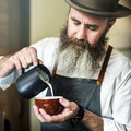 Barista Pouring Coffee Cafe Working Startup Business Concept Royalty Free Stock Photo