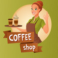 Barista waitress with cups coffee showing ok sign. Vector illustration with text.