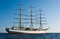 Bark Nadezda at anchor in the Bay East. Royalty Free Stock Photo