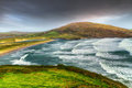 Barley cove beach in stormy weather Royalty Free Stock Photo