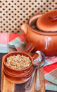 Barley porridge in a clay pot.  traditional dish of Russian cui Royalty Free Stock Photo