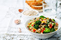 Barley porridge with corn, broccoli, garlic, mushrooms and peppe Royalty Free Stock Photo