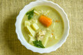 Barley soup in a white bowl. Royalty Free Stock Photo