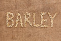Barley word written on sackcloth can be used as background Royalty Free Stock Images