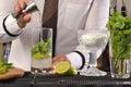 Barman preparing cocktail bartender Royalty Free Stock Image