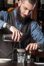 Barman at work makes cocktails with the help of a shaker Stock Photography