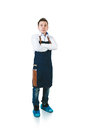 Barmen a shoot of young caucasian man in apron as a crossing hands on the chest isolated against white background Stock Photos
