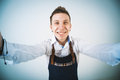 Barmen a shoot of young caucasian man in apron as a doing selfie wide angle Royalty Free Stock Photo