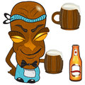Barmen tiki vector illustration of a statue holding a mag of beer Royalty Free Stock Photo