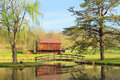 Barn across the pond Stock Image