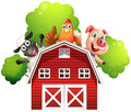 A barn with animals at the rooftop
