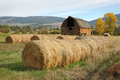 Barn and Baled Hay Royalty Free Stock Photo