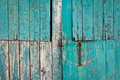 Barn door close up of a weathered blue Royalty Free Stock Images