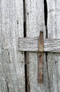 Barn door latch close up of a weathered and wood Stock Images