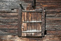 Barn door in saas fee of an old wooden the swiss alpine village of Royalty Free Stock Images