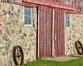 Barn Doors with Wagon Wheels Royalty Free Stock Photo