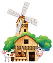 A barn at the farm with animals illustration of on white background Stock Photography