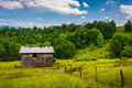 Barn and fields in the rural Potomac Highlands of West Virginia. Royalty Free Stock Photo