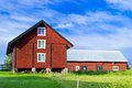Barn a red on a farm Royalty Free Stock Photo