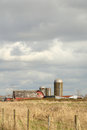 Barn and silo washington state usa under storm clouds in Stock Image