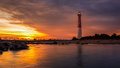 Barnegat sunset lighthouse at is a historic landmark located on the northern tip of long beach island Royalty Free Stock Images