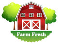 A barnhouse with a farm fresh label illustration of on white background Stock Photography